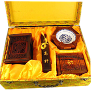 Outstanding FOUR PIECE Set Of Hand-Carved Chinese Huali Wood And Porcelain Items - Brush Washe