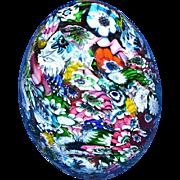 Very Large Murano Art Glass Millefiori Egg Paperweight