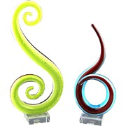 REDUCED Pair of Murano Abstract Glass Art