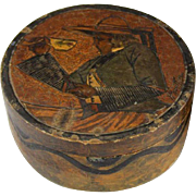 QUIMPER Art Deco Carved Wooden Dresser Box Or Trinket Box With A Woman Having Coffee Painted o
