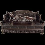 Wonderful Chinese Hand-Carved Natural Dark Aromatic Wood Sleeping Buddha