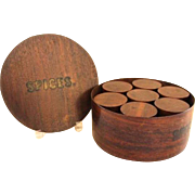 Round Wooden Lidded Spice Box With Eight Wooden Lidded Spice Containers Inside