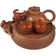 REDUCED Handmade Chinese Yixing Teapot & Four Cups In The Very Special Zisha Clay