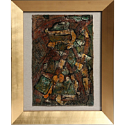"""Original Mixed Media On Linen,  """"Out on the Road Pick up the Pieces Again"""" Signed By"""