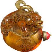 REDUCED Hand Carved Chinese Beijing/Peking Glass Snuff Bottle With Foo Dog