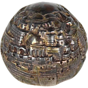 REDUCED Silver Clad Israel Paperweight Panorama of Jerusalem, Signed,