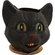 "SOLD Antique German Papier Mache Black Cat Candy Container, Signed ""Germany"""