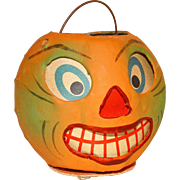 SOLD German Papier Mache Jack-O-Lantern/Candy Container