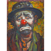 """H. C. Wolcott (American, 1898 -1977) """"Emmett Kelly - Weary Willie"""" Signed Original O"""