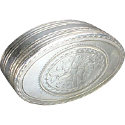 REDUCED 19th Century Sterling Silver Snuff Box Embossed With Musical Instruments And Sheet ...