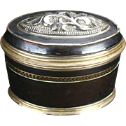 19th Centurty Black Enameled Copper & Silver Snuff Box