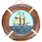 """""""Tootie Somerville"""" - Original Painting On Carved Nautical Wood/Mixed Media Life Rin"""