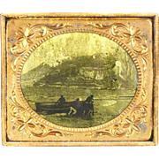 Civil War Era, Circa 1860, Sixth Plate, Brass, Orotype of Three Men With Dinghy, Open ...
