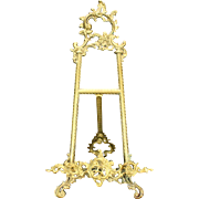 Antique Rococo Cast Brass Table Easel Circa 1900