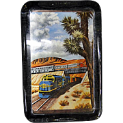 Vividly Colorful Scenic Santa Fe Railroad Paperweight