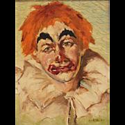 "Original Signed/Dated Oil Painting on Masonite - ""Sad Clown With Orange Hair"""