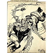 Original Signed Pen And Ink Political Cartoon, Circa 1940, By Honored Medal Recipient S. J. Ra