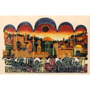 """Large Signed/Numbered Limited Edition """"Sunset In Jerusalen"""" Embossed Lithograph by Amram Ebgi (Morocco, b. 1939)"""