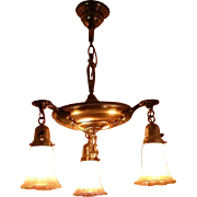 REDUCED Art Nouveau Brass Chandelier with Zephyr Gold Luster Pattern Shades