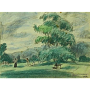 """Well-Listed Artist HERMINE DAVID, (French 1886 - 1971)  Original Signed """"Country Landscap"""