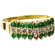 SALE PENDING Emerald, Diamond and 14 Karat Yellow Gold Ring, Lady's Elegant And Understated Tr