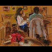 "JOAN MARTI (Spanish 1936 - 2009)  ""Cafe Patachan, Paris"" - Signed Pastel on Paper"
