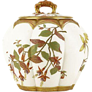 19th Century Royal Worcester Lidded Biscuit Jar, Hand-Painted and Gilt