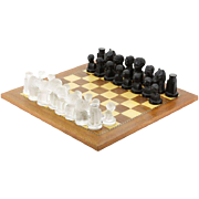 Continental Mid-20th Century Frosted Clear and Black Crystal Chess Set With Inlaid Wood Chess