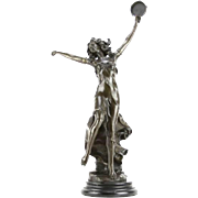 """Signed A. Moreau Marvelous Bronze """"Dancing Nymph"""" on Marble Base - 23 inches tall"""