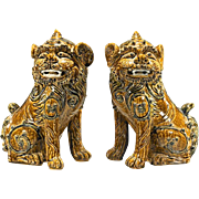 REDUCED PAIR of Large Chinese Glazed Stoneware Lions