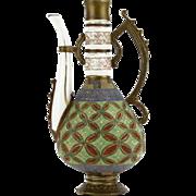 SALE Unusual 19th Century Royal Rudolstadt Porcelain Hand-Painted Textured Ewer