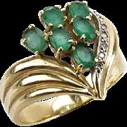 SOLD Diamond and Emerald Heart Shaped Ring, 14 Karat Yellow Gold, Ladies