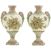 PAIR of Matching Hand-Painted Royal Rudolstadt Floral Decorated Shaped Urn Vases