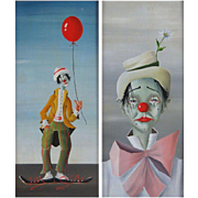 PAIR of Original Signed Oil Paintings Of Clowns, circa 1966