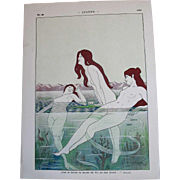 "REDUCED Art Nouveau JUGEND 1898 Nude Nymphs (""Nixes"") Swimming, Signed By Artist, E."