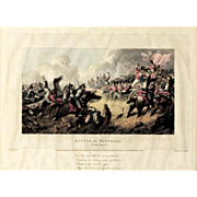 "REDUCED 19th Century Colored Print ""Battle Of Waterloo"" by Artist M. Dubourg"