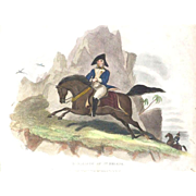 "REDUCED 19th Century Colored Print ""Bonaparte At St. Helena"""