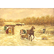 "Charles Stuart Millradt (Canadian - 20th Century)  Signed Original Oil ""Village Scene"""