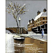 """Original Signed Oil On Canvas - """"Winter By The River Thames"""" - Framed"""