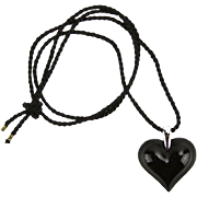 REDUCED Lalique Crystal Noir Signed Heart Shaped Pendant With Sterling Silver Loop, Original B