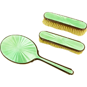 REDUCED English Guilloche Enamel and Sterling Silver Three Piece Vanity Set; Signed, Hallmarks