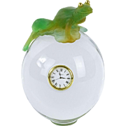 REDUCED Daum France Pate de Verre Frog On Glass Orb With Clock, Rare Find