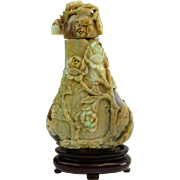 REDUCED Antique Chinese Carved Iridescent Opal Magnum Snuff Bottle In High Relief.  .