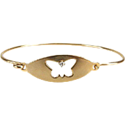 REDUCED Diamond and 14 Karat Yellow Gold Bracelet With Butterfly Design - Perfect For Valentin