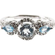 REDUCED Sterling Silver and Round Sky Blue Topaz Center Stone Accented with Marquise Cut Sky B