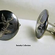 Vintage Sterling Silver Men's Siam Cuff Links