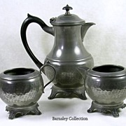 Signed W. Ellerby of London Art Nouveau Hand Beaten Pewter Tea Coffee Server Set-c.1910