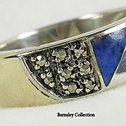 SALE Vintage 14K Sterling Silver Marcasite and Lapis Band Ring