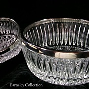 SALE Cut Glass and Silver Plated Serving Set