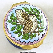 Signed Bilstone & Battersea Enamels Revival, Halcyon Days Enamel Owl Trinket Box